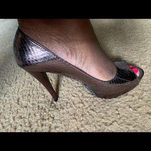 Dark Pewter Leather Heels
